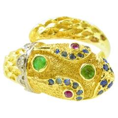 18K Yellow Gold, Diamond, Ruby, Emerald and Sapphire Snake Ring