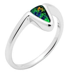 Australian 0.83ct Boulder Opal Ring in 18K White Gold