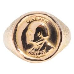 Yeatman Coin 14 Carat Yellow Gold Men's Vintage Signet Ring