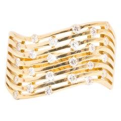 0.48 Carat Round Brilliant Cut Diamond Vintage 18 Carat Yellow Gold Wave Ring