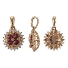 18 Karat Pink Gold, Ruby and Diamond Necklace