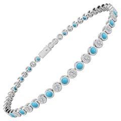 Diamond & Turquoise Bezel Set Tennis Bracelet in 18 Karat White Gold