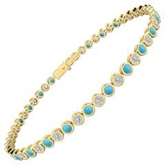 Diamond & Turquoise Bezel Set Tennis Bracelet in 18 Karat Yellow Gold