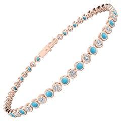 Diamond & Turquoise Bezel Set Tennis Bracelet in 18 Karat Rose Gold