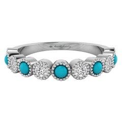 Diamond & Turquoise Bezel Set Ring with Milgrain in 18 Karat White Gold