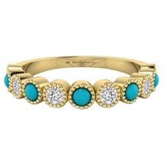 Diamond & Turquoise Bezel Set Ring with Milgrain in 18 Karat Yellow Gold