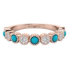 Diamond & Turquoise Bezel Set Ring with Milgrain in 18 Karat Rose Gold