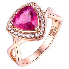 Pink Tourmaline Diamond Ring 18k Rose Gold