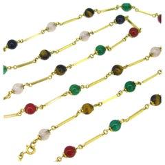 Vintage Retro Multi Beads Long Chain, 18kt Yellow Gold, circa 1950