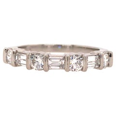 Platinum Tiffany & Co. Round and Baguette Diamond Band
