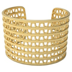 22 Karat Gold Woven Cuff Bracelet by Romae Jewelry Inspired by Ancient Designs
