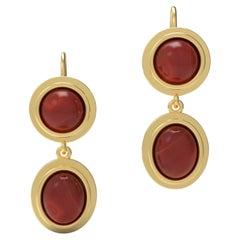 22 Karat Gold Garnet Earring by Romae Jewelry Inspired by Ancient Roman Designs