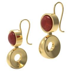 22 Karat Gold Garnet Drop Circle Earring by Romae Jewelry Inspired by Antiquity