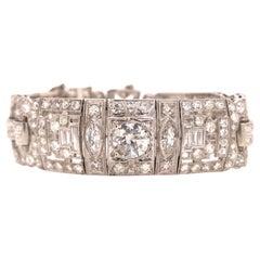 Platinum Wide Multi-Shape Diamond Bracelet