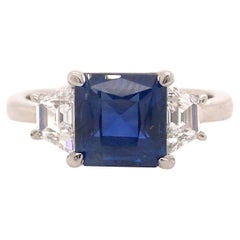 Platinum 2.92 Carat GIA Sapphire and Diamond Three Stone Ring