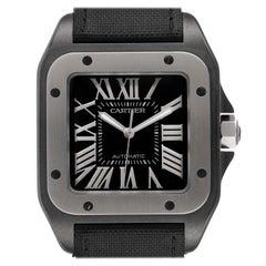 Cartier Santos 100 Black PVD Steel Mens Watch W2020010 Box Papers