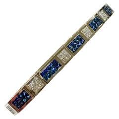 Invisible Set 6.50 Carat Sapphire and Diamond Bracelet