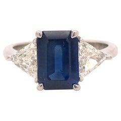 Platinum 3.11 Carat GIA Sapphire and Diamond Three Stone Ring
