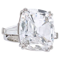 GIA Certified 11 Carat Cushion Cut Tapered Baguette Diamond Ring