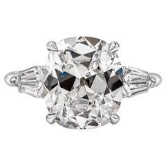 GIA Certified 5.11 Carat Cushion Brilliant Diamond Three-Stone Engagement Ring