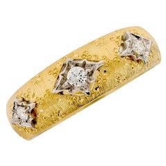 Italian 18 Karat Yellow Gold and Diamond Dome Band Ring