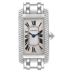 Cartier Tank Americaine White Gold Diamond Ladies Watch WB7018L1