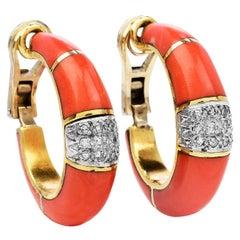 Vintage Diamond Salmon Coral 18K Gold Elegant Clip on Earrings
