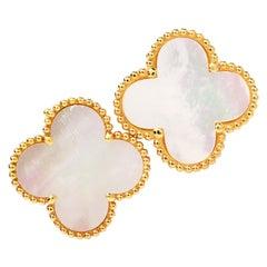 Van Cleef & Arpels Mother of Pearl 18K Gold Alhambra VCA Earrings