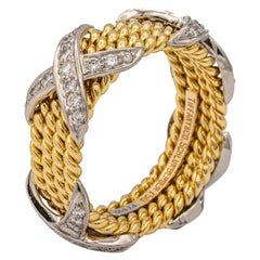 Tiffany & Co. Vintage Schlumberger X 4 Row Rope Ring in 18k and Platinum