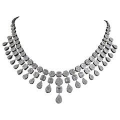 15.2 Carat Diamond 14 Karat White Gold Statement Necklace