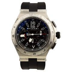 Bvlgari Diagono Professional DP 45 STV GMT Stainless Steel Black Dial Watch
