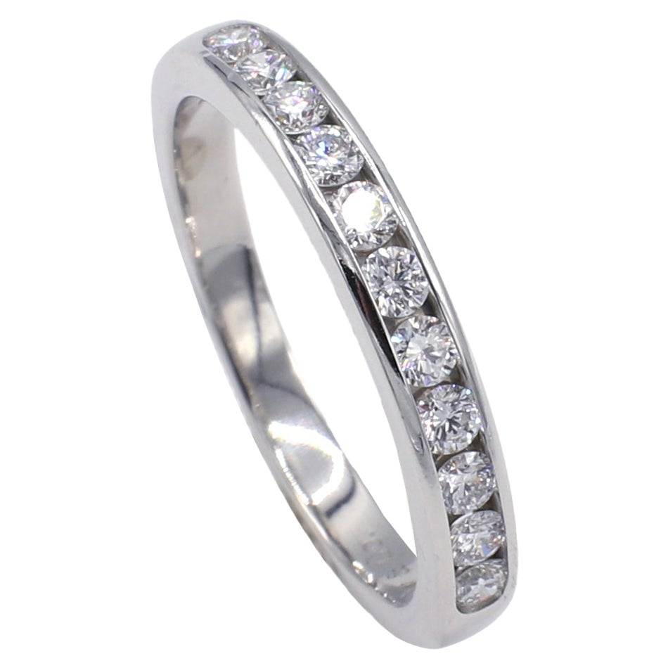 Tiffany & Co. Platinum Channel Set Diamond Wedding Band Ring