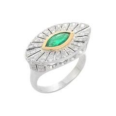 Emerald Diamond 18 Karat Gold Marquise Art Deco Style Ring