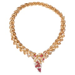 Gold Diamonds and Rubies French Vintage Necklace