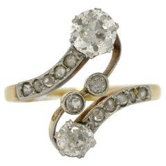 Antique French Toi Et Moi Edwardian Diamond Engagement Ring 2 Tone Platinum Gold