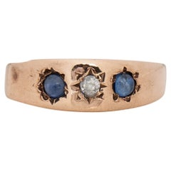 Victorian 9K Rose Gold Antique Sapphire and Old Mine Diamond Three Stone Ring