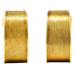 David Webb 18 Karat Yellow Gold Brushed Ear-Clip Earrings