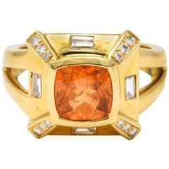 Baskin Bros. 2.50 Carats Orange Sapphire Diamond 18 Karat Gold Gemstone Ring