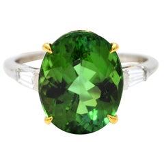 Vintage Green Tourmaline Diamond 18 Karat Gold Platinum Gemstone Ring