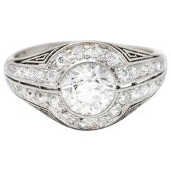 J.E. Caldwell 1.35 Carats Diamond Platinum Bombe Engagement Ring