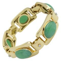 18 Karat Yellow Gold, Diamond & Jade Panel Link Bracelet