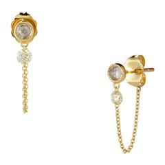 Nude Diamond Chain Earrings