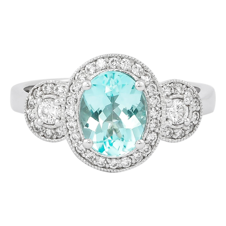 1.3 Carat Paraiba and White Diamond Ring in 18 Karat White Gold