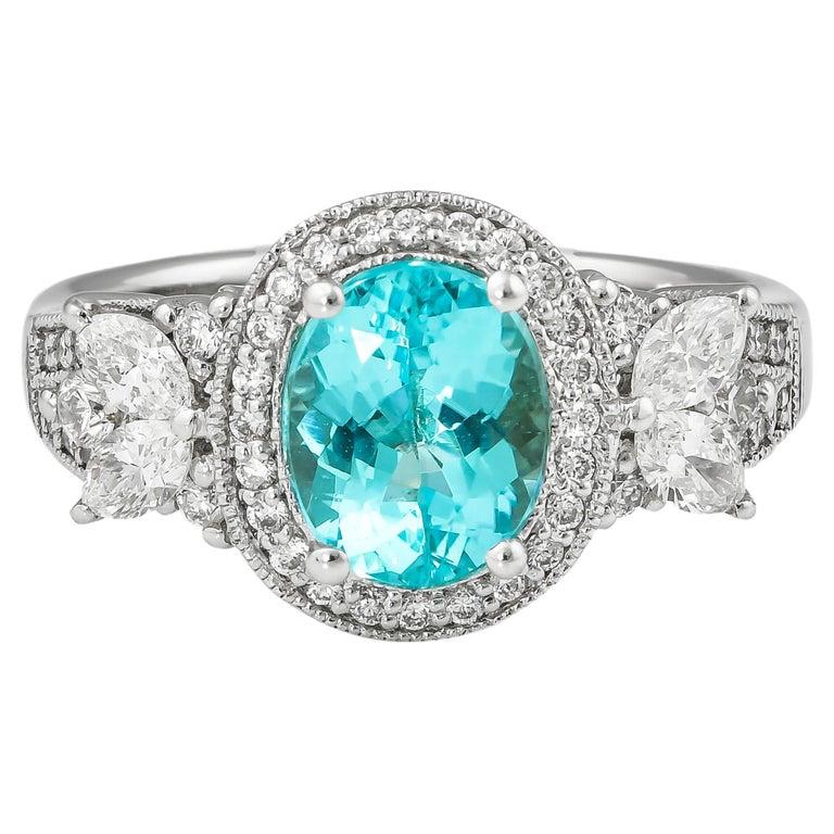 1.7 Carat Paraiba and White Diamond Ring in 18 Karat White Gold For Sale