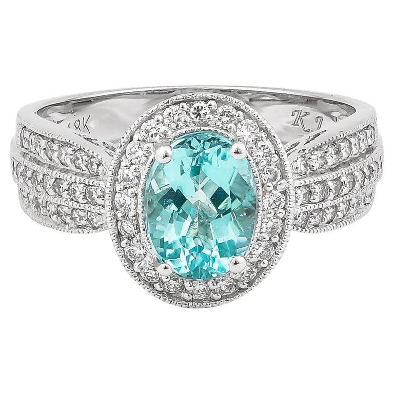 1.4 Carat Paraiba and White Diamond Ring in 18 Karat White Gold For Sale