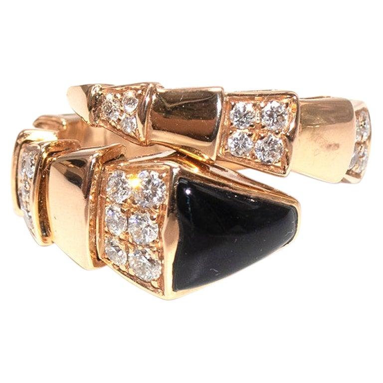 Bvlgari 18kt Rose Gold Diamond & Onyx Serpenti Viper Ring