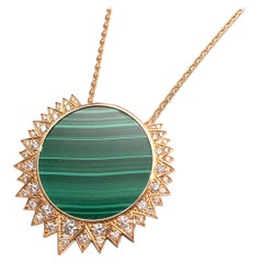 Piaget Rose Gold, Diamond & Malachite Sunlight Pendant Necklace