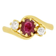 Victorian 1.00ct Ruby and Diamond Twist Ring, c.1880s
