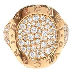Bvlgari 18k Pink Gold Pave Diamond Bvlgari-Bvlgari Ring