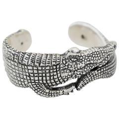 1990 Emilia Castillo Sterling Silver Lost Wax Process Alligator Cuff Bracelet